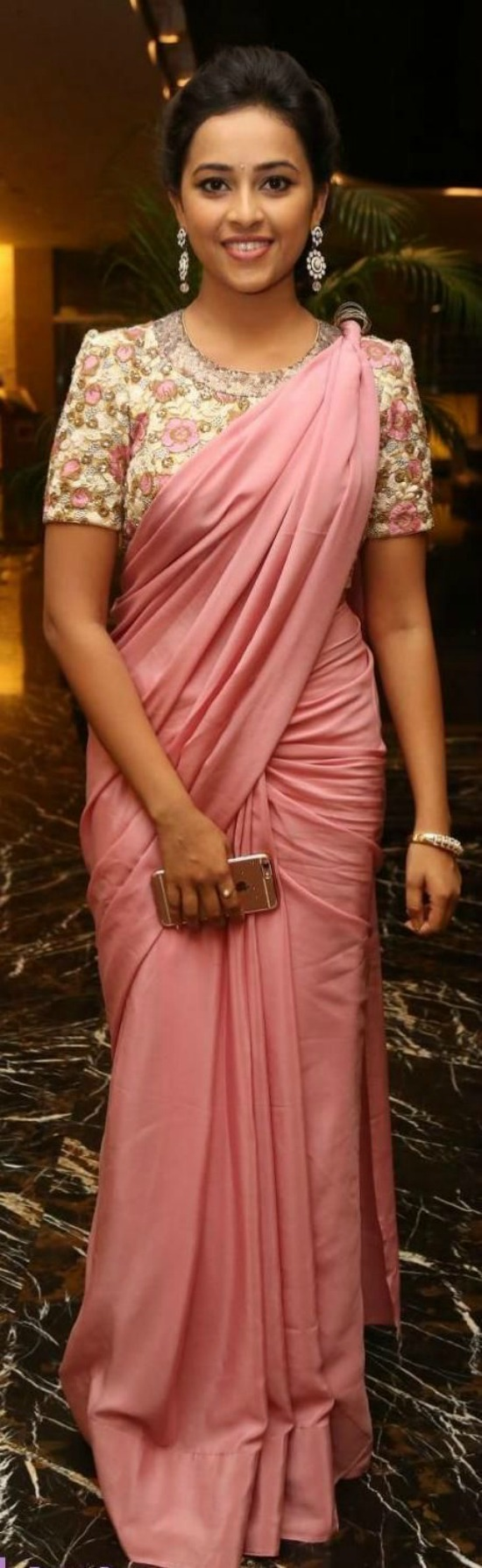 Sridivya In Blush Pink Saree With Embroidery Blouse