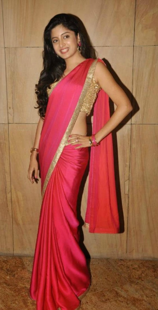 Poonam Kaur Pink Chiffon Lace Work Saree with Gold Embellished Blouse