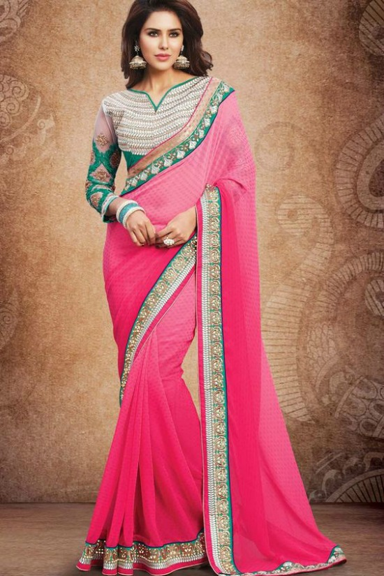 Pink Georgette Party Wear Saree With Maharani Blouse