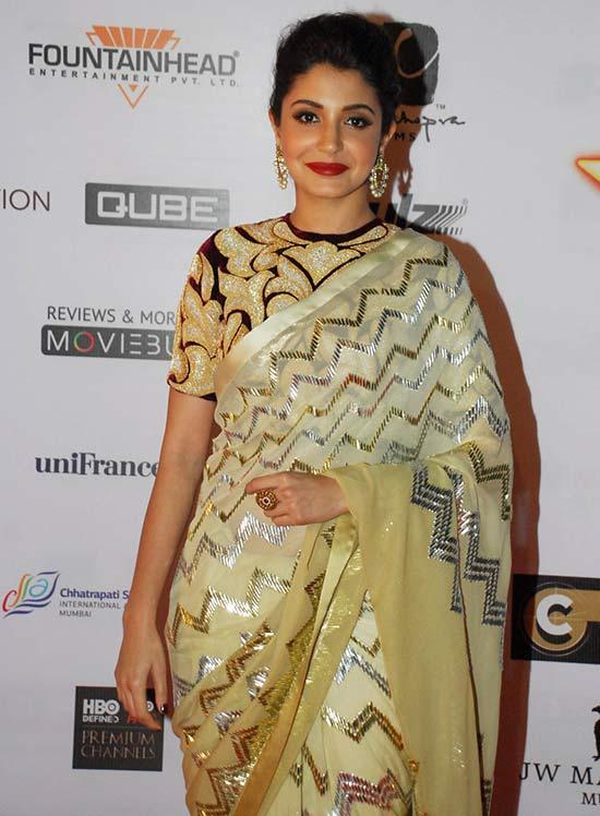 Anushka Sharma In Yellow Saree At Mumbai