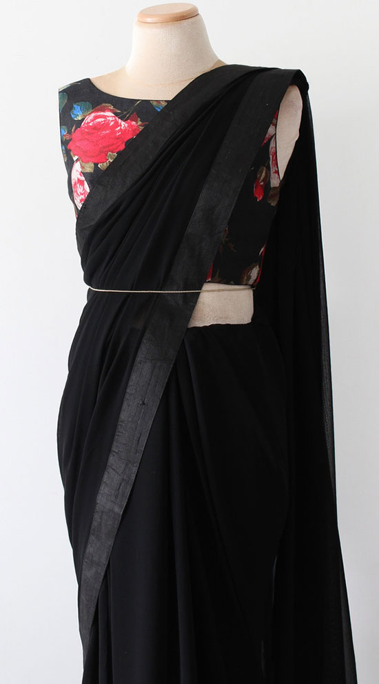 Black Silk Saree With Folar Print Blouse