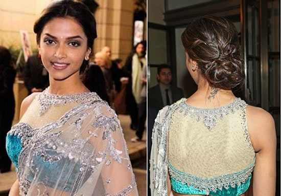 Deepika Padukone In Sleeve Less Sheer Net Yoke Net
