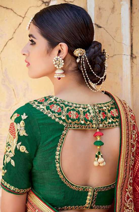 Embroidered Blouse design for silk
