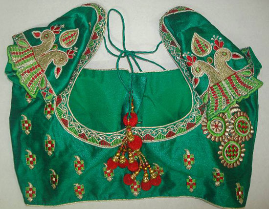 Hand-embroidered-Peacock-Designed-With-Back-U-Shape