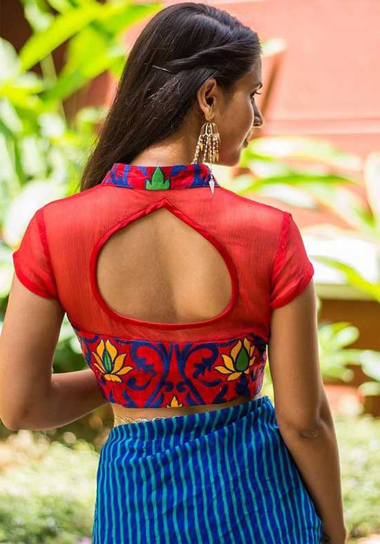 High Neck Thread Embroidery with Back Tear Drop