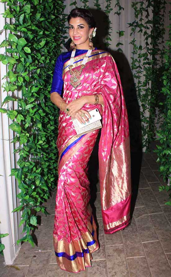 Jacqueline Fernandez In Traditional Pink Pattu Saree