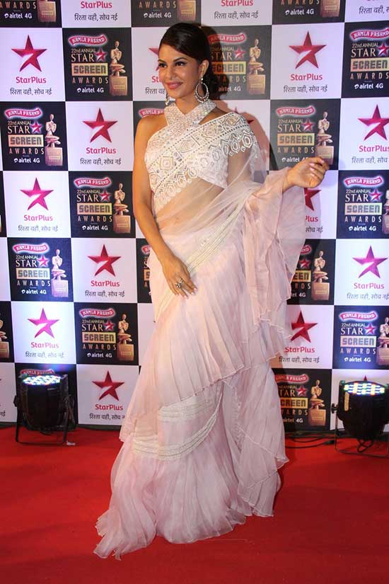 Jacqueline Fernandez in Pleated Ruffle Design Saree