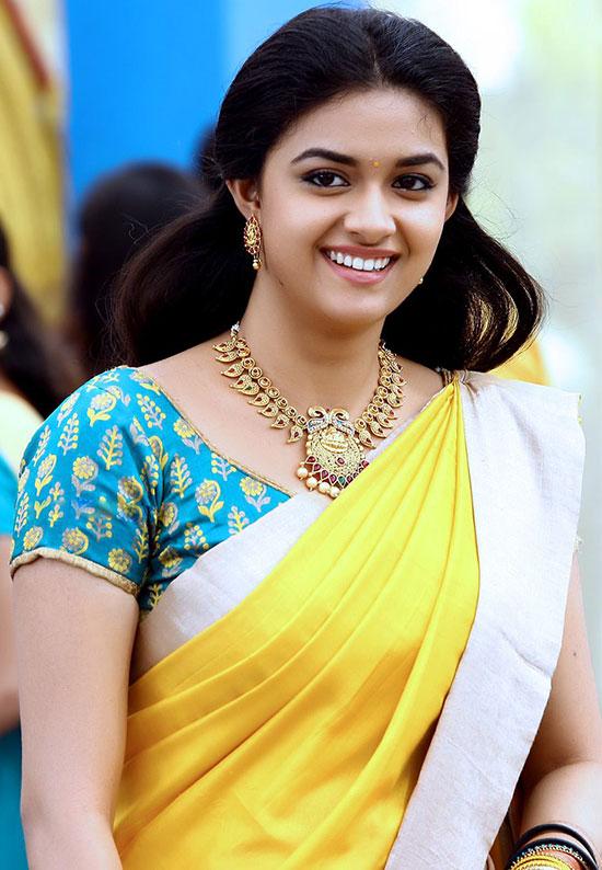 Keerthy-Suresh-in-Yellow Net Saree