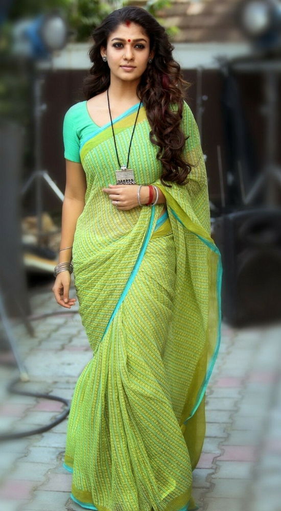 Nayantara In Printed Green Cotton Saree