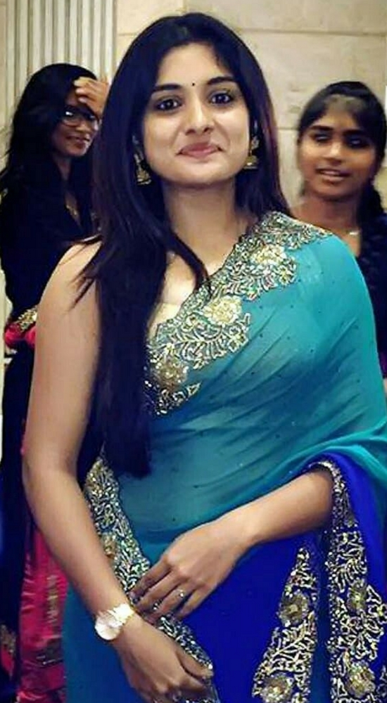 Niveda Thomas In Blue Sequins Work Saree