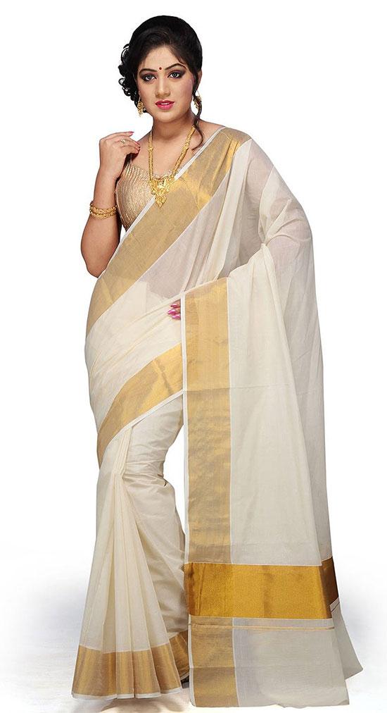 Off White Pure Cotton Kerala Kasavu Saree with Gold Sleeveless Blouse