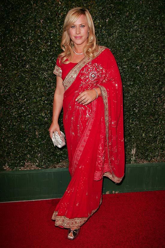Patricia Arquette in Red saree