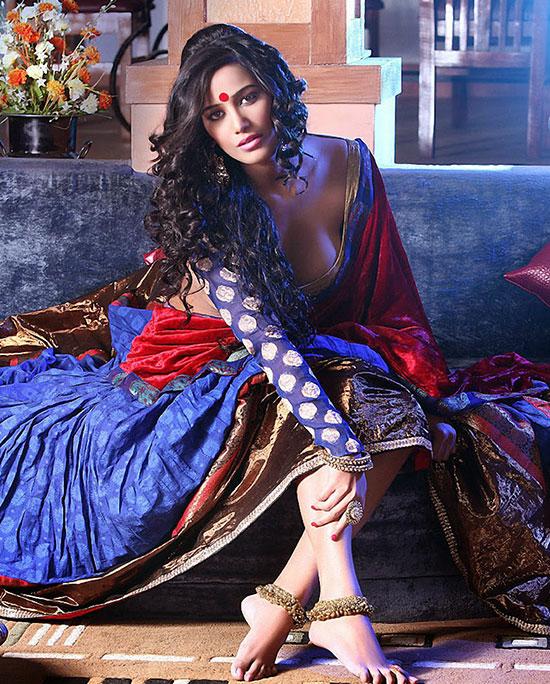 Poonam Pandy In Blue Banarasi Saree