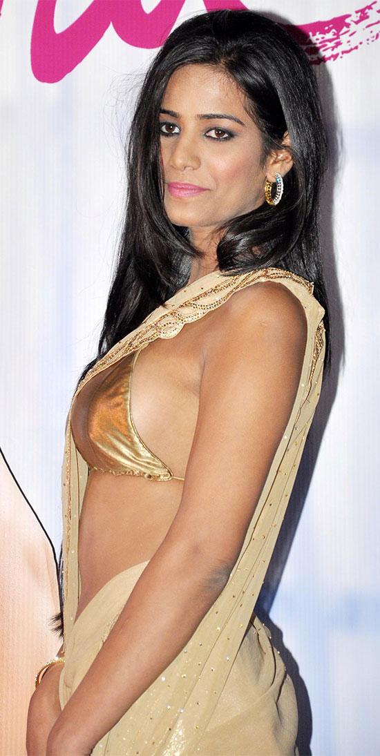 Poonam Pandy In Soft Gold Sequins Embllished Saree