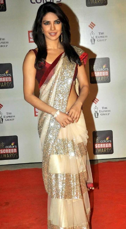 Priyanka Chopra In Cream and Gold Work Saree