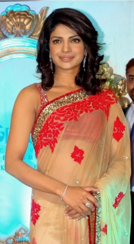 Priyanka Chopra In Orange Embroidery Net Saree
