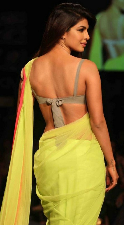 Priyanka Chopra In acid green neon Manish Malhotra saree - Back