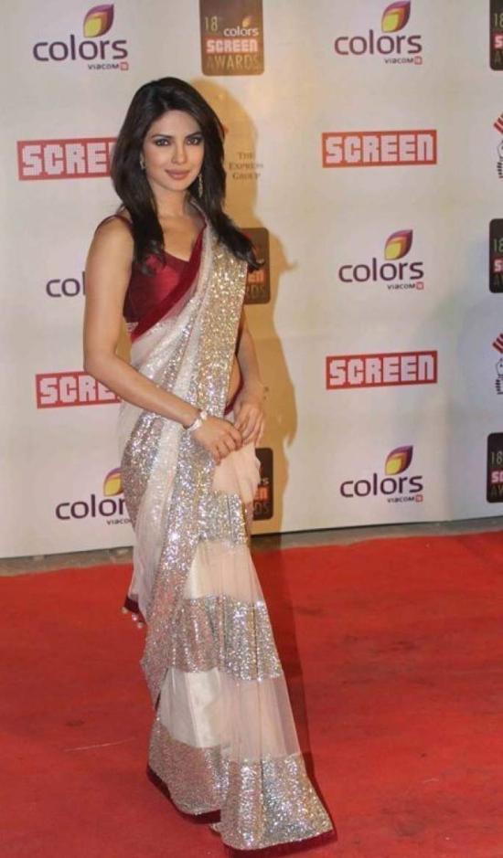 Priyanka chopra Off White and Red and Silver Net Saree