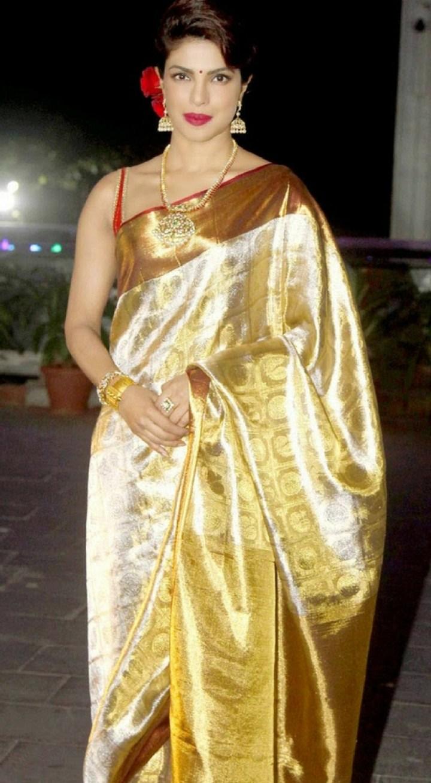 Priynka Chopra in Gold Pattu Silk Saree