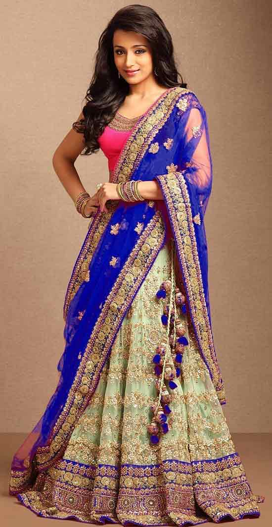 embroidered net unstitched lehenga saree