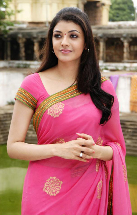 kajal agarwal in Cool pink saree