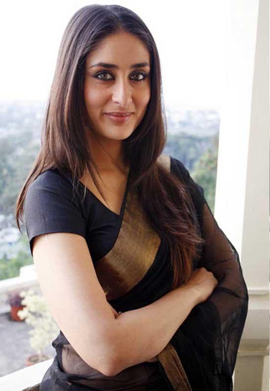 kareena in black chanderi saree