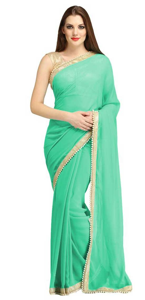 lime turquoise faux georgette saree