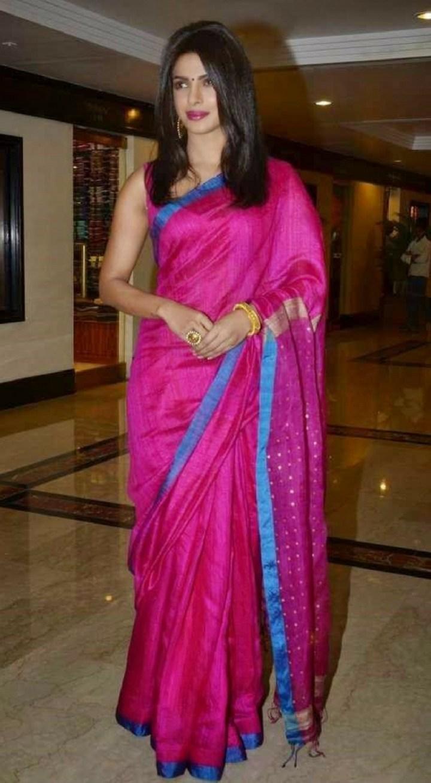 priyanka chopra in pink jute silk saree