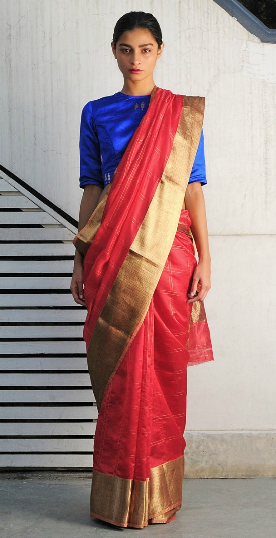 Sumatra Red Chanderi Handwoven Saree With Blue Blouse