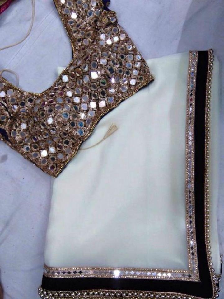 White Chiffon Saree With White Button Work Blouse