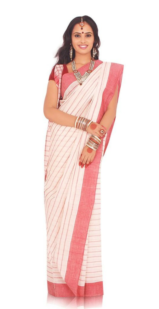 Pure Cotton Bengali Saree With Strips All Over The Saree