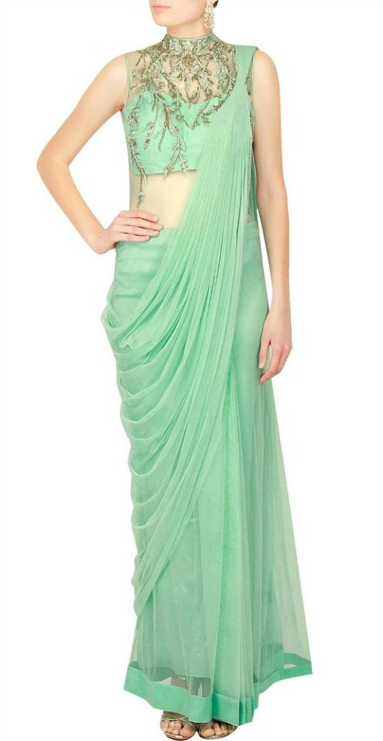 Aqua Net Saree Gown With Intricate Floral Zardozi And Thread Embroidery On The Illusion Neckline