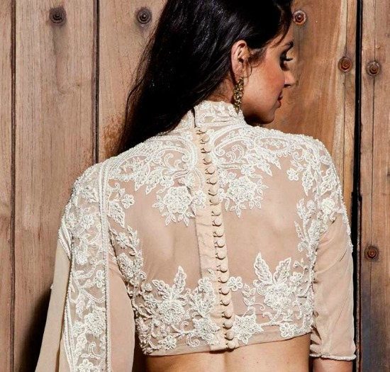 Embroidered Back Of Sari Blouse With All Through Buttons