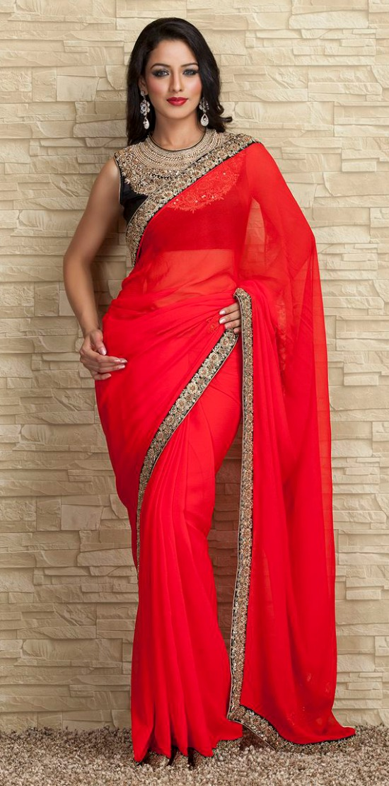 Red Georgette Saree With Black Closed Neck Blouse