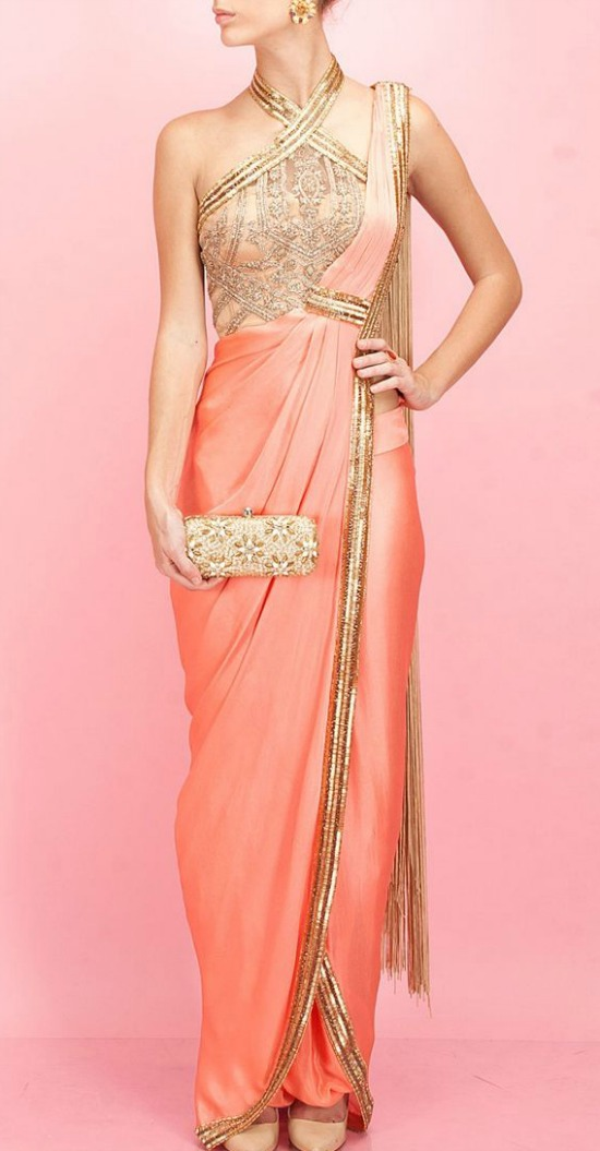 Coral And Gold Egyptian Embroidery Saree Gown