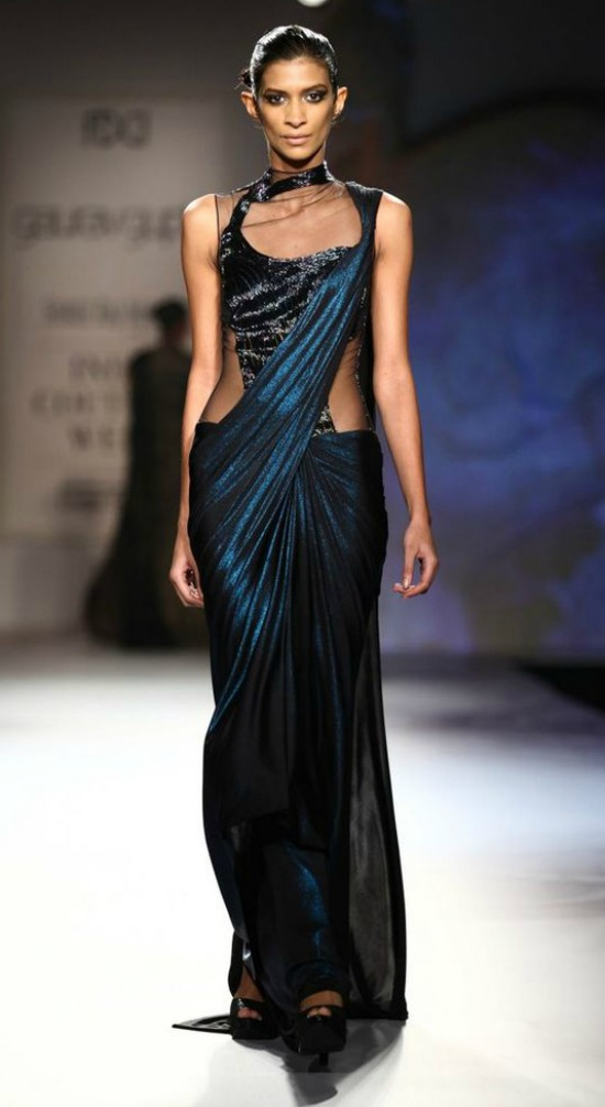 Teal Blue Shimmer Sari Gown
