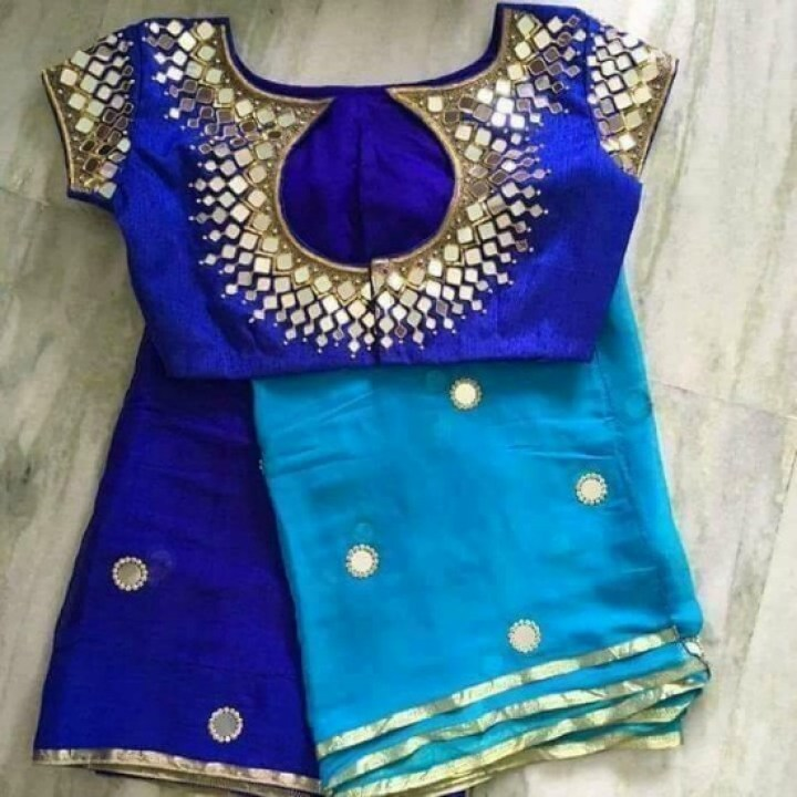 Blue Mirror Work Blouse With Back Round Neck