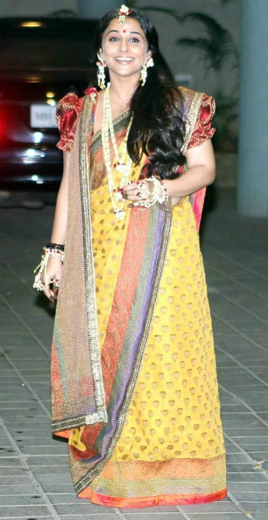 Multicolor Bengali Saree With Puff Sleeves
