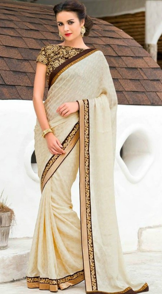 Stylish Cream Color Chiffon Party Saree With Full Embroidered Blouse