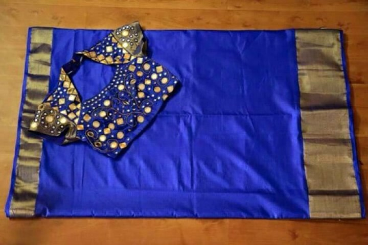 Collar Mirror Work Blouse For Blue Pattu Saree