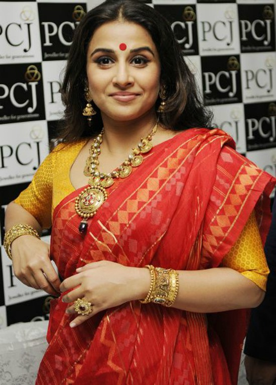 Vidya Balan In Bengali Style Red Saree Mustard and Red