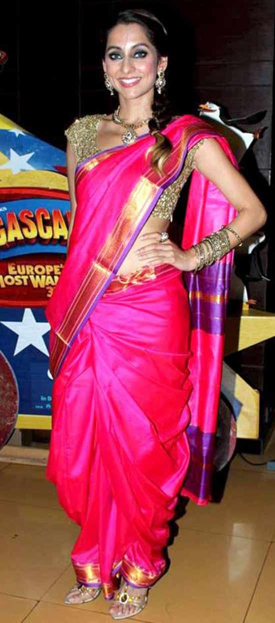 Anusha Dandekar in Nauvari Saree With Gold Embellished Blouse