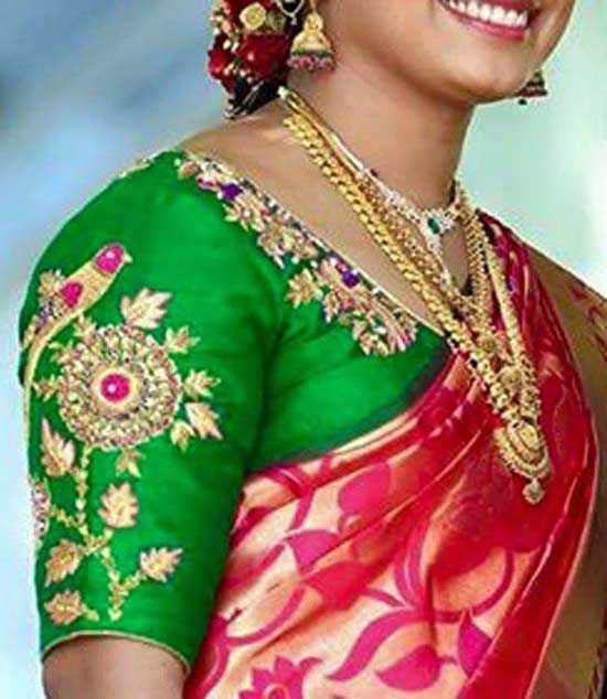 Beautiful elbow length sleeves maggam embroidered on hands