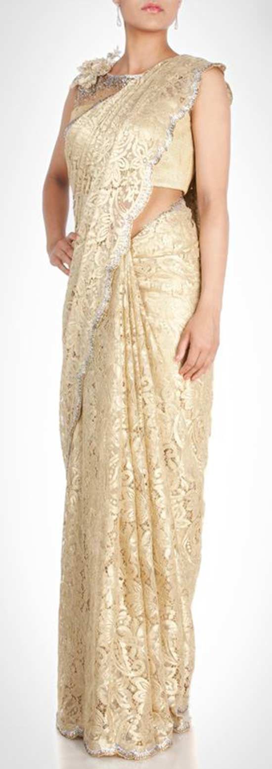 Chantilly lace Sari With Rhinestone Detailing