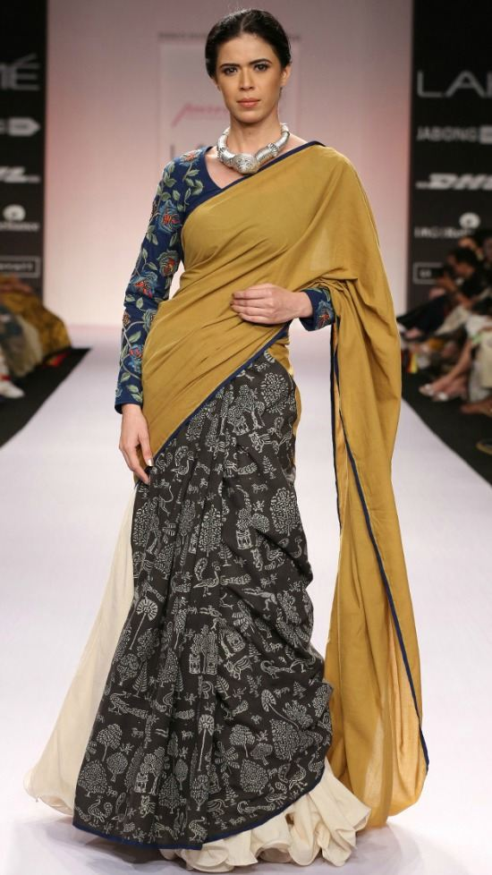 Grey and Olive Green Cotton Saree with Block Print
