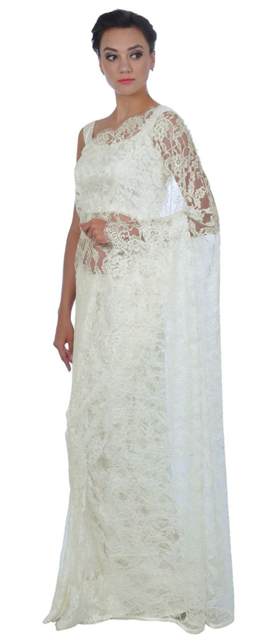 Ivory French Chantilly Lace Saree With Satin Crepe Blouse