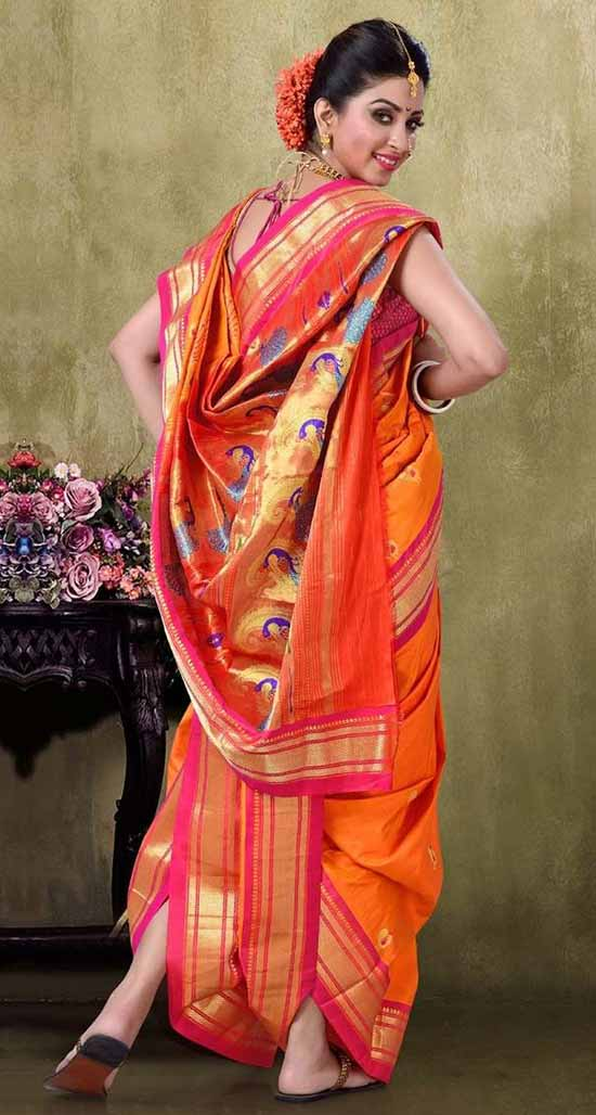 Orange And Gold Color Combination Of Nauvari Saree