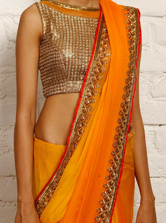 Orange Ombre Chiffon Saree With Gold Blouse
