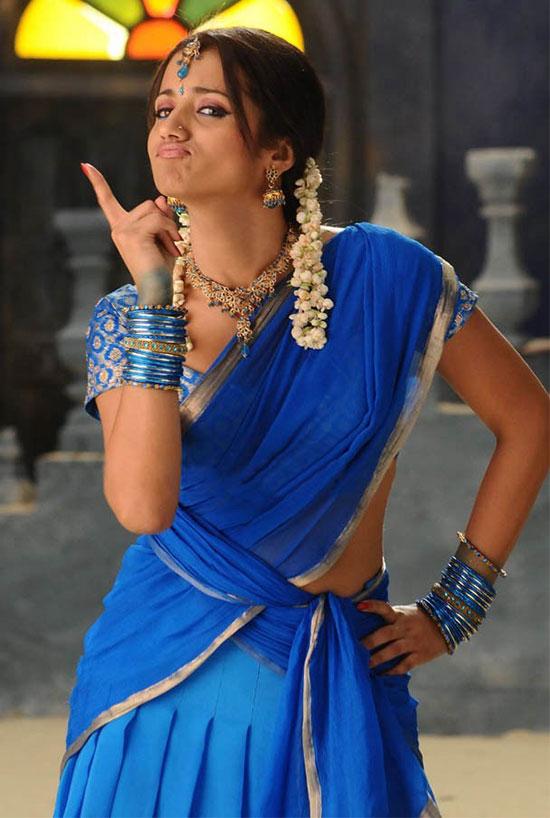 Trisha In Blue Half Saree