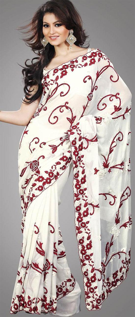 Urvashi Rautela In Off White Faux Embroidery Georgette Saree